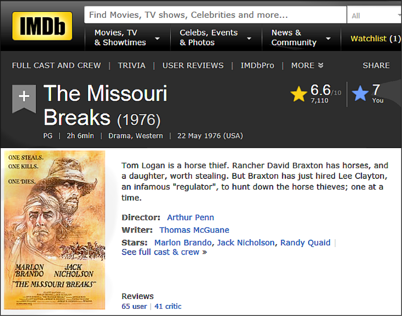 jack nicholson my favorite westerns missouri breaks imdb review