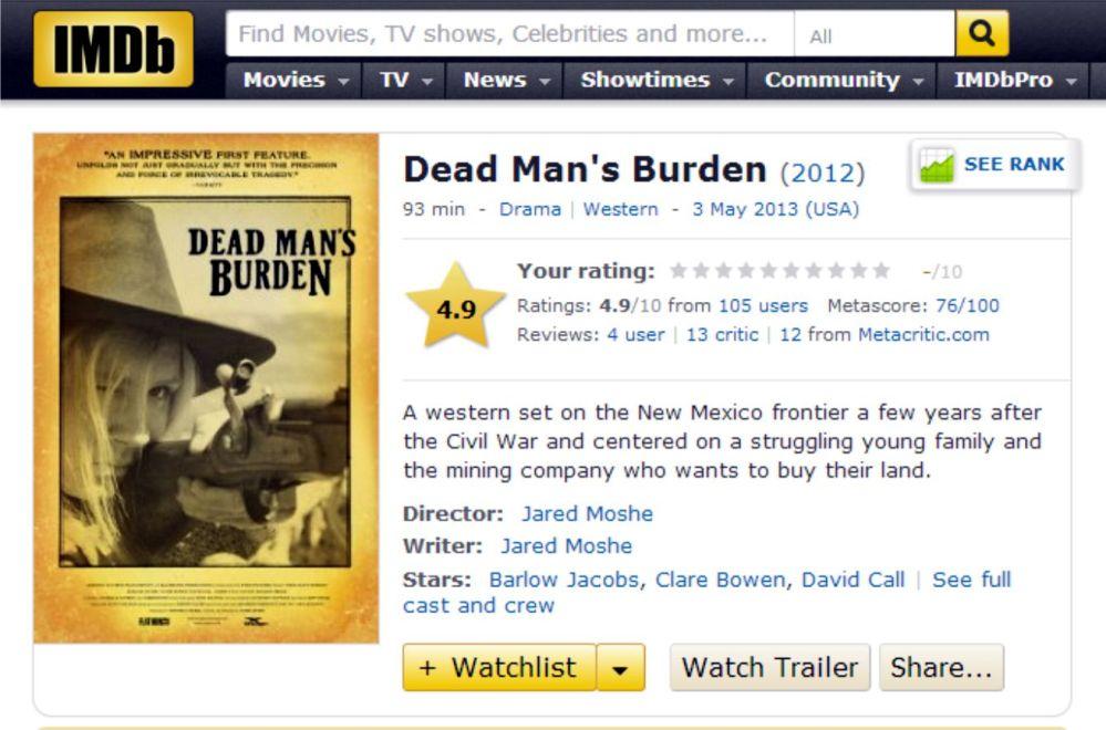 IMDB Dead Mans Burden