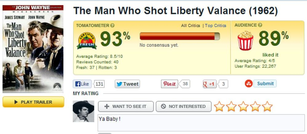 The Man Who Shot Liberty Valance - Rotten Tomatoes Review