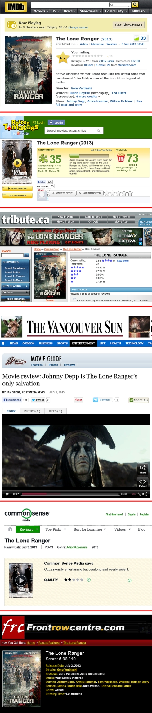 the lone ranger reviews