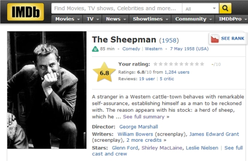 IMDB The Sheepman 1958