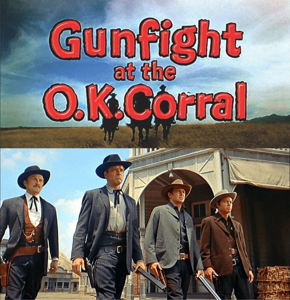 'Gunfight at the OK Corral': Kirk Douglas, Burt Lancaster, John Hudson, DeForest Kelley