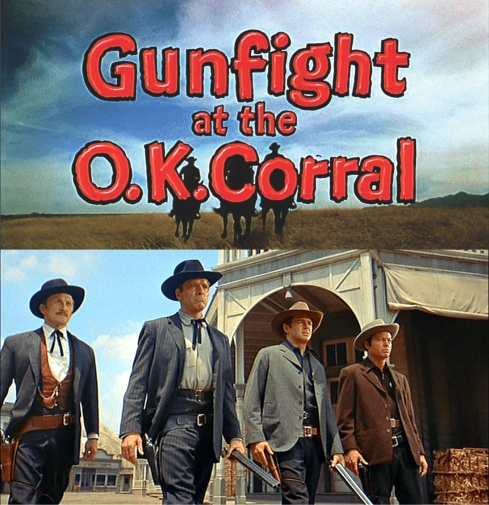'Gunfight at the OK Corral': Kirk Douglas, Burt Lancaster, John Hudson, DeForest Kelley