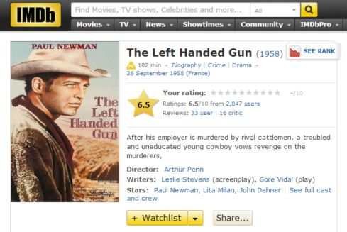 IMDB The Left Handed Gun