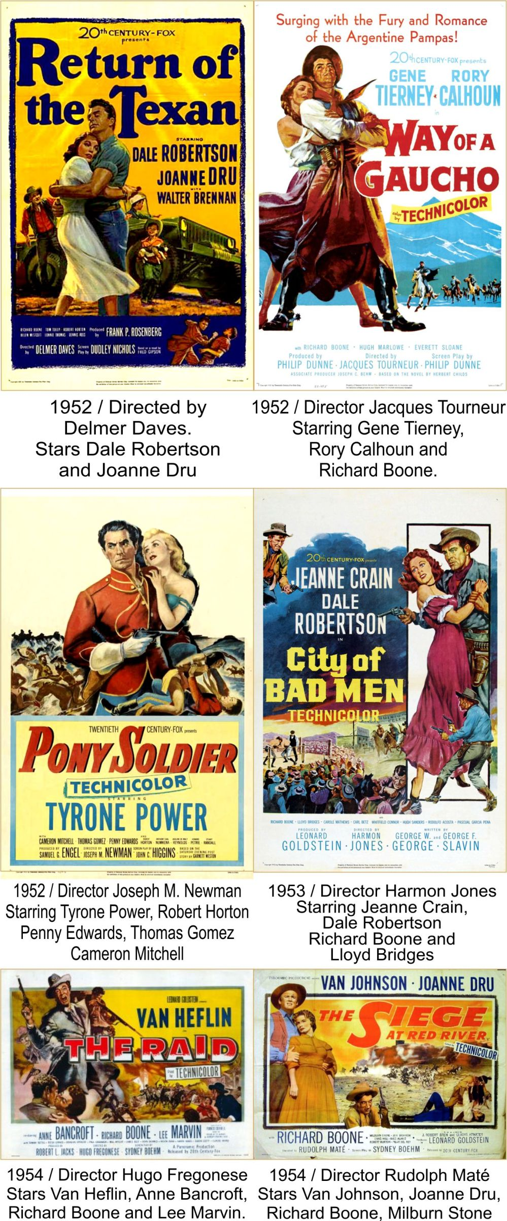 Richard Boone Filmography 1