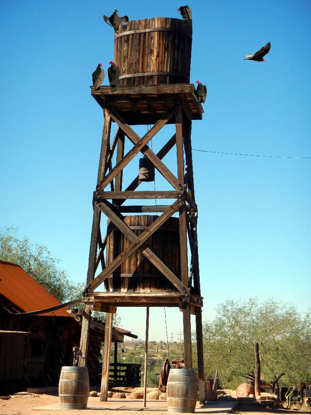 goldfield ghosttown water tower and vultures