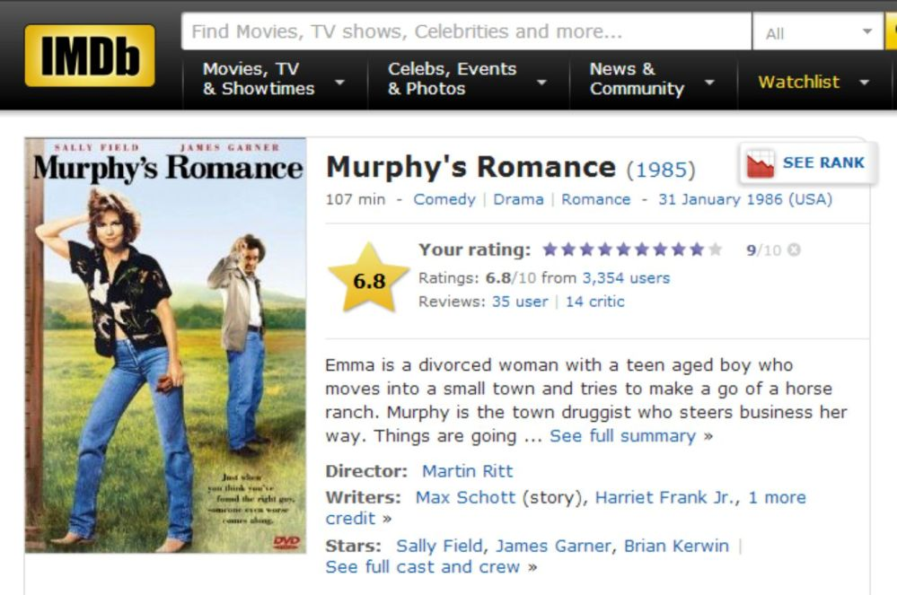 MURPYHY ROMANCE IMDB