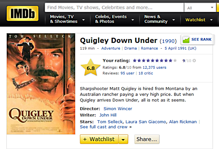 QUIGLEY DOWN UNDER IMDB review