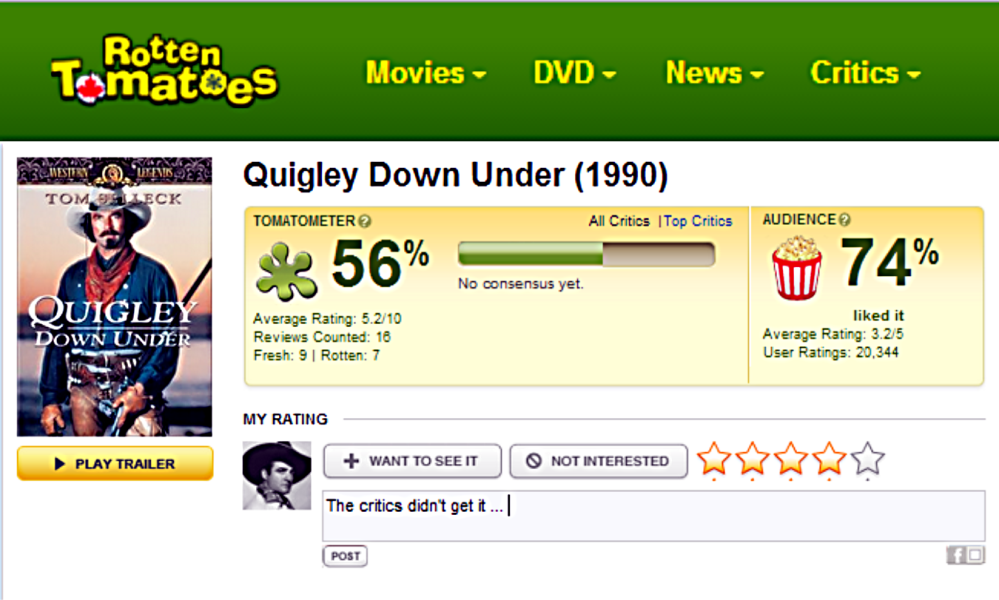 QUIGLEY DOWN UNDER Rotten Tomatoes review