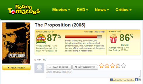 THE PROPOSTION rotten tomatoes review