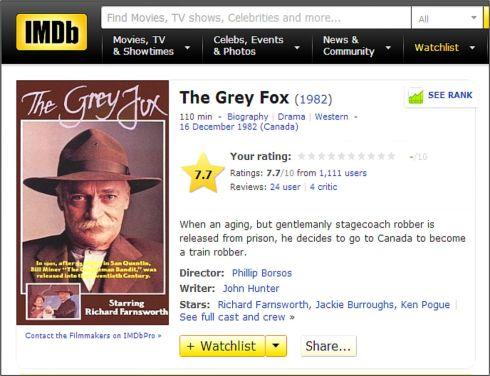 MFW The Grey Fox IMDB Review