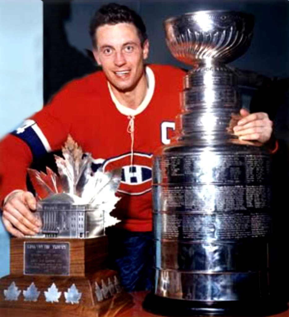 Jean Beliveau wth Stanley Cup and Conn Symthe Trophy 1965