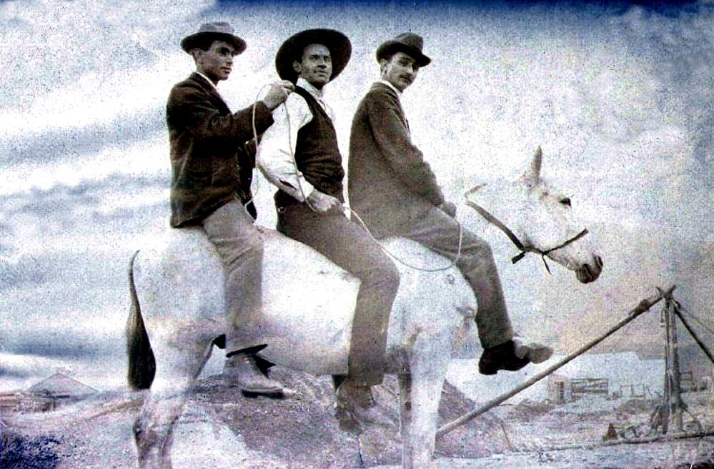 Three men on a horse