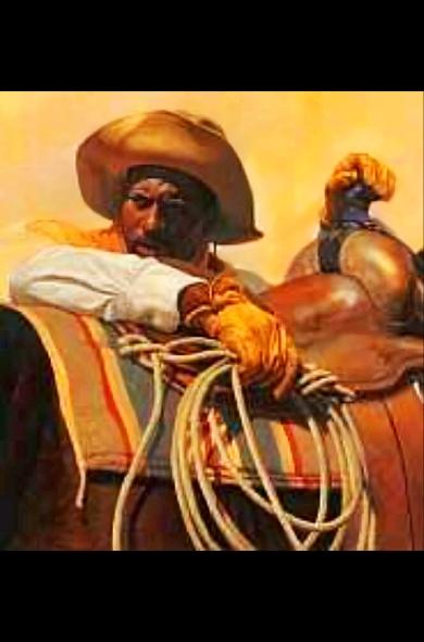 Black Cowboy painting