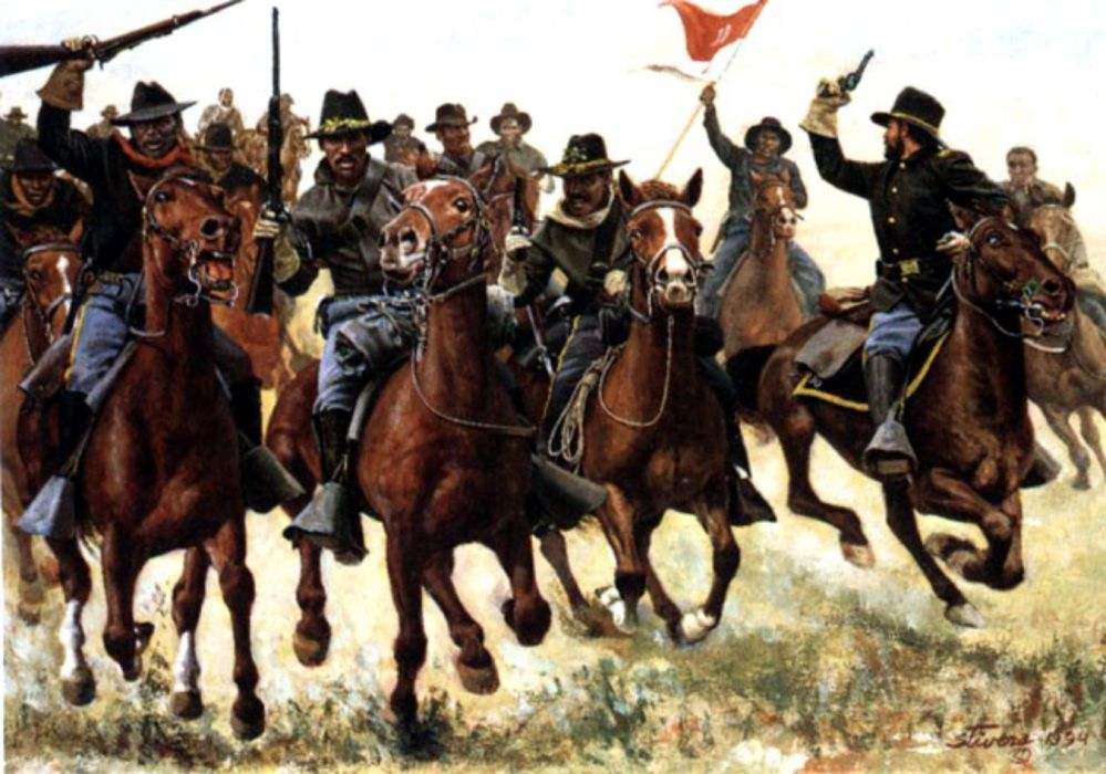 Buffalo Soldiers-Painting By Don Stivers  Troop A Tenth Cavalry led by Captain Nicholas A. Nolan at the Battle of Rattlesnake Springs,Texas August 6, 1880.