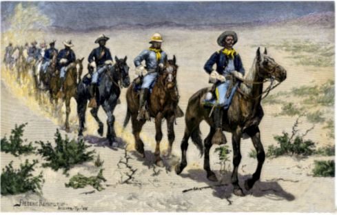 Marching in the desert with the Buffalo Soldiers