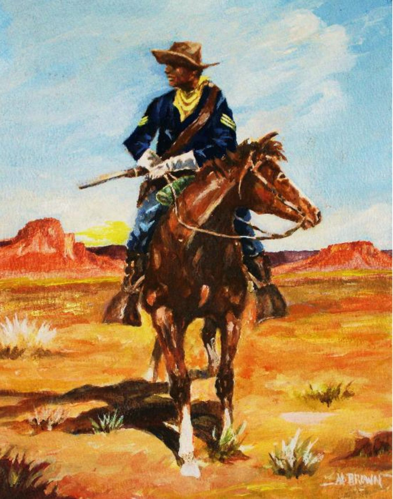 buffalo soldier This painting by bob snead of el paso, texas inspired the photo below of the statue of a buffalo soldier located near the buffalo soldier gate/buffalo soldier road entrance to fort bliss, texas.