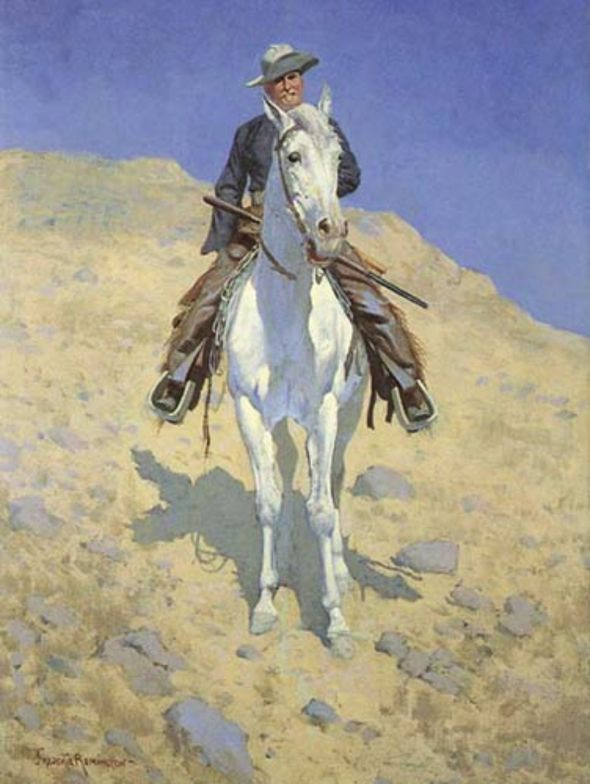 (Frederick Remington: Self Portrait on horse.)