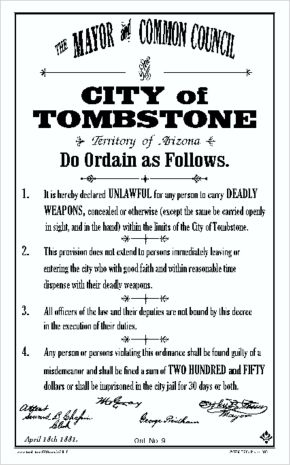 City of Tombstone Ordinance