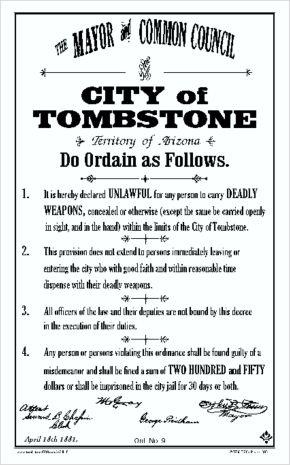City of Tombstone Ordinance