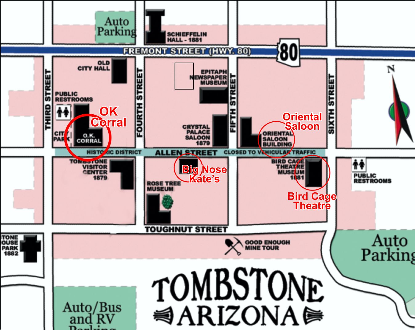 map downtown tombstone