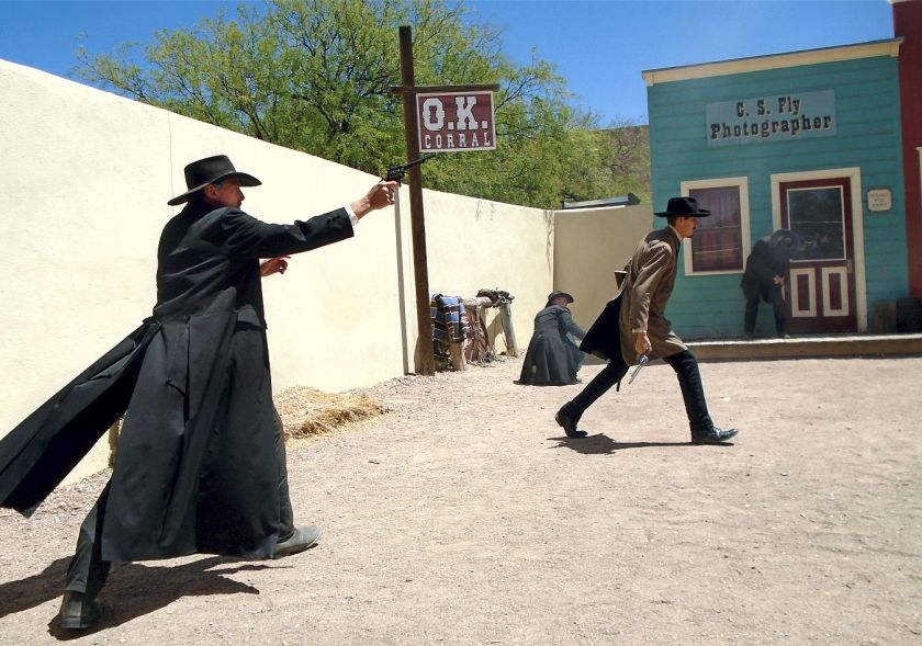 OK CORRAL REENACTMENT ... Morgan and Virgil wounded
