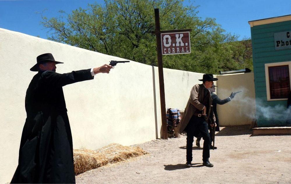 OK CORRAL REENACTMENT the shooting begins