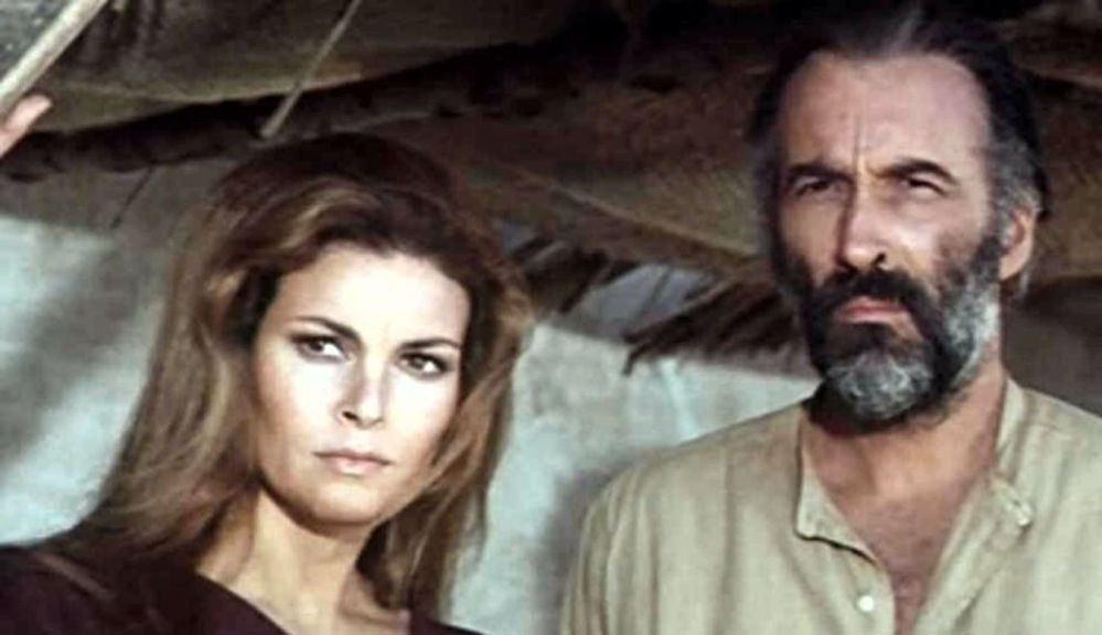 Christopher Lee and Raquel Welch