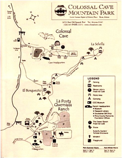 Colossal Cave Mountain Ranch Park Map