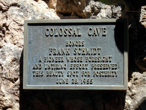 Colossal Caverns - Frank Schmidt plaque