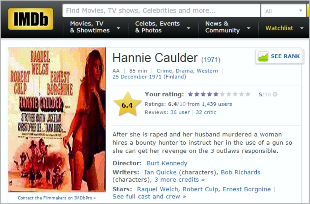 Hannie Caulder IMDB Review