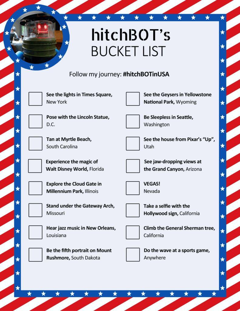 hitchbot's bucket list