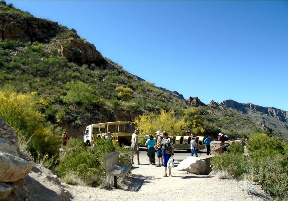 Sabino Canyon Tram at the top