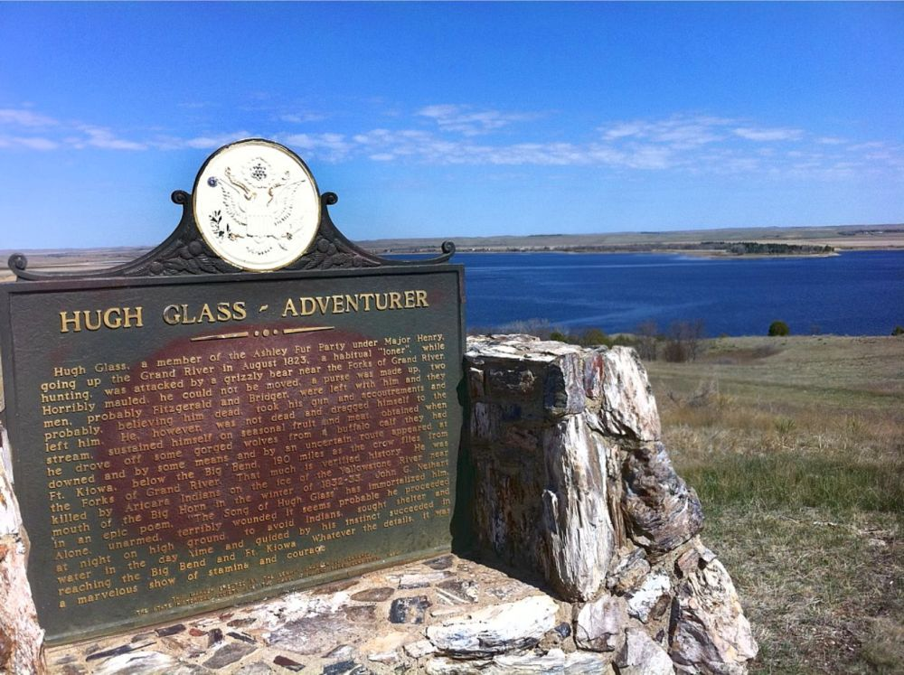 Plaque marker overlooking Shadehill Reservoir in northwestern South Dakota