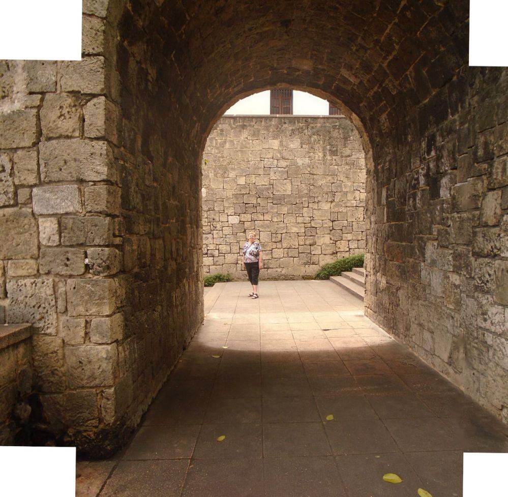 Downtown Santo Domingo stone arch