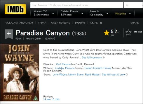 Paradise Canyon IMDB