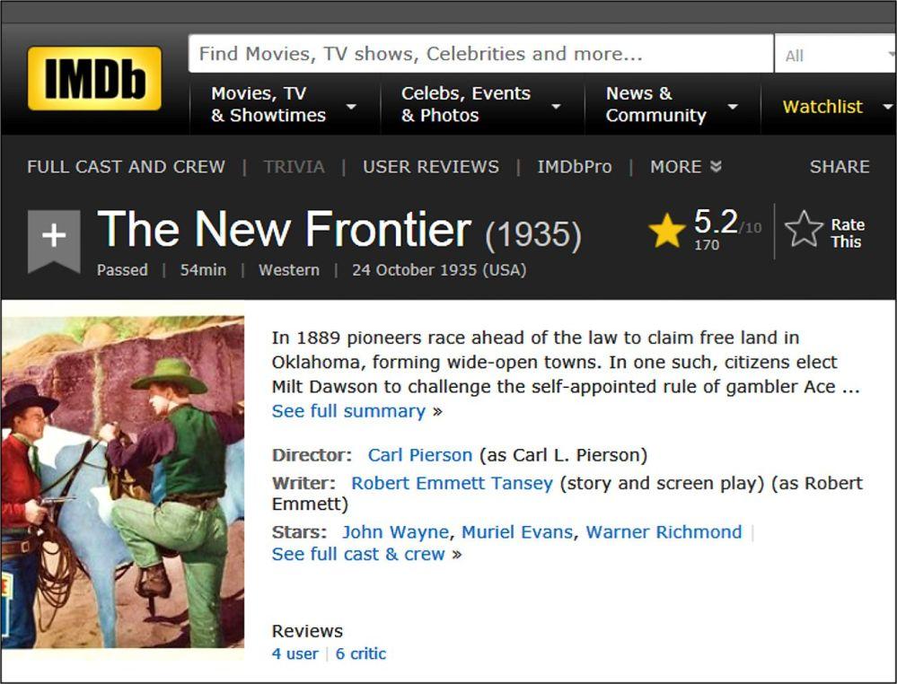 The New Frontier IMDB