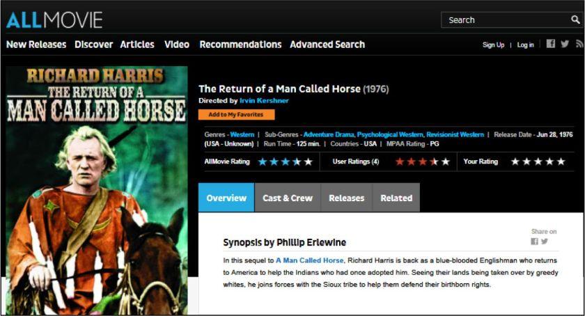 Return of Man Named Horse Allmovie review