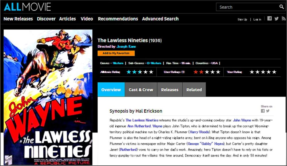 The Lawless Ninties 1936 Allmovie Review
