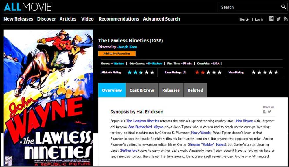 The Lawless Ninties 1936 Allmovie Review
