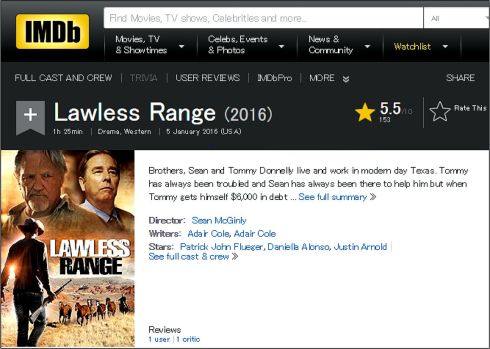 Lawless Range 2016 IMDB review
