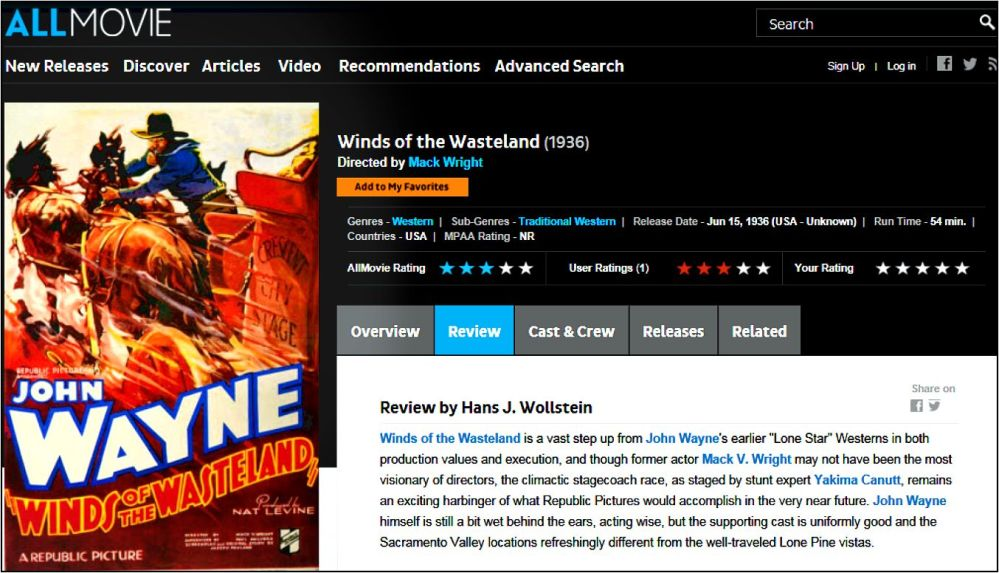 Winds of the Wasteland AllMovie review