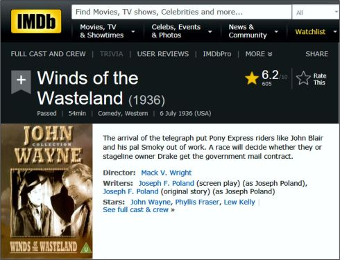 Winds of the Wasteland IMDB review