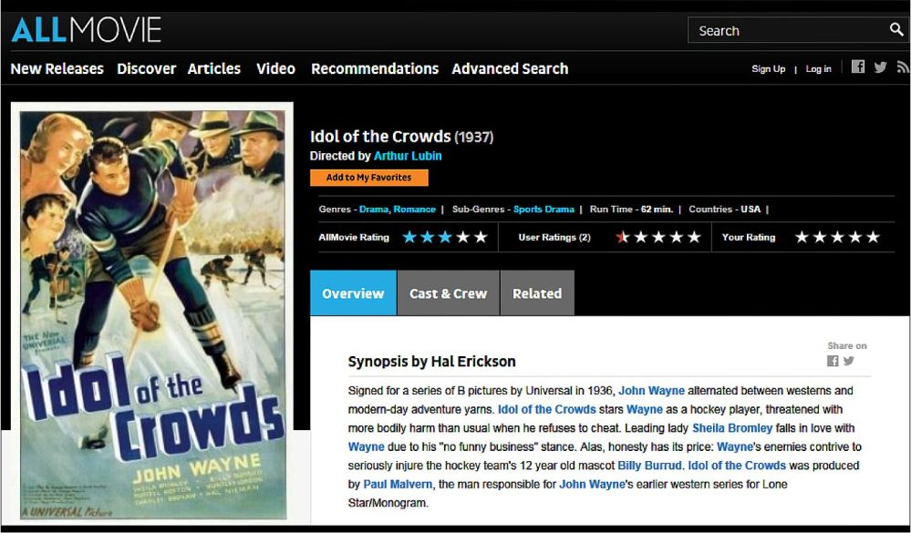 Idol of the Crowds John Wayne 1937 Allmovie Review