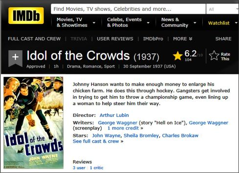 Idol of the Crowds John Wayne 1937 IMDB review