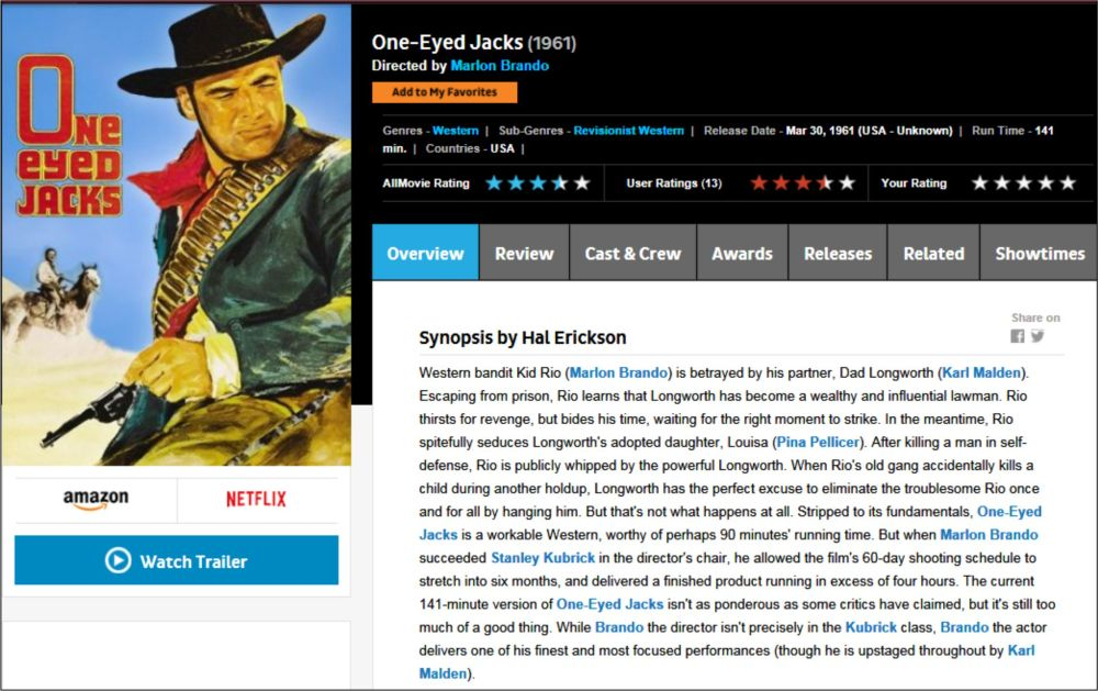 One Eyed Jacks - AllMovie review