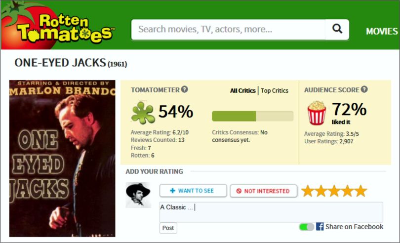 One Eyed Jacks - Rotten Tomatoes review