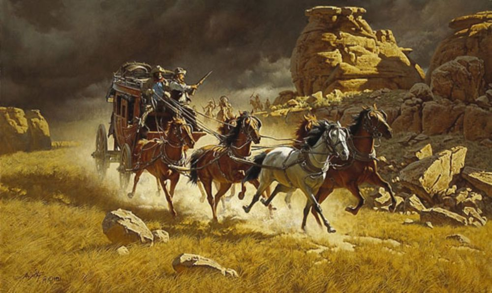 Stagecoach being chased Painting by Gary McClemens  |Large Western Stagecoach Art